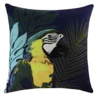 Blaues Kissen mit Papageienmotiv, 45x45 Ara