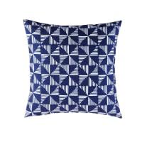 Blaues Outdoor-Kissen mit weißen grafischen Motiven 45x45