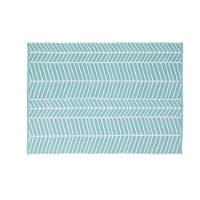 Blauw buitentapijt met wit grafisch motief 140x200