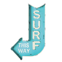 Blauw metalen  muurbord met pijl 50x80 Surf