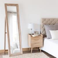 Bleached White Paulownia Cheval Mirror 50x170 Honore