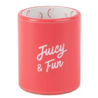 Bleistiftbehälter, weiß und rosa, bedruckt Juicy & Fun