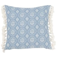 Blue and Ecru Cotton Cushion Cover with Pom Poms 40x40 Galapagos