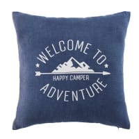 Blue Cotton Cushion with Mountain Print 40 x 40 Pikes