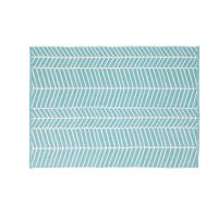 Blue Outdoor Carpet with White Graphic Motifs 140x200