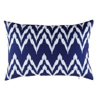Blue Outdoor Cushion with White Graphic Motifs 40x60