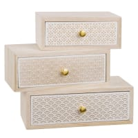 Boîte 3 tiroirs en paulownia