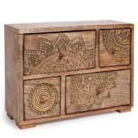 MANDALA - Boîte 4 tiroirs en manguier à motifs dorés