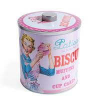 Boîte à biscuits vintage rose et bleue H 20 cm Patisserie