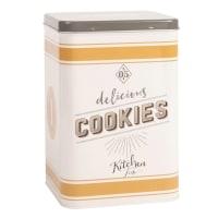 Boîte à cookies en métal beige et vert kaki imprimé Delicious