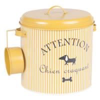Boîte à croquettes pour chien en métal jaune moutarde à rayures Graphik