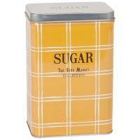 Boîte à sucre en métal motifs à carreaux jaune moutarde et blancs