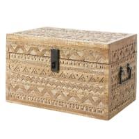 LAKOTA - Boîte en manguier gravé motifs graphiques