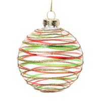Lote de 6 - Bola de Navidad de cristal rojo, verde y purpurina dorada