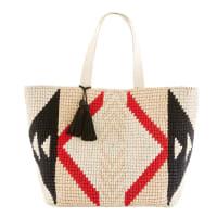 Bolsa de playa de algodón trenzado con motivos gráficos