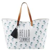 Borsa da spiaggia in cotone bianco con stampa e manici in pelle marrone Hello Summer