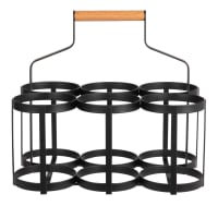 Bottle holder (x6) in black metal and beech wood