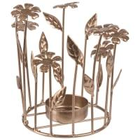 Bougeoir fleurs en métal doré Gaby
