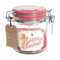 BISCUIT DE NOEL - Bougie de Noël parfumée rouge bocal en verre