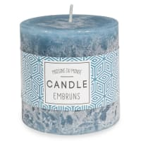 Bougie parfumée cylindrique bleu foncé 7 x 7 cm