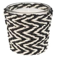 Bougie parfumée en verre et corde noire et blanche