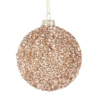 Lot de 6 - Boule de Noël en verre à pépites dorées