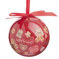 ÉPICE - Lot de 12 - Boule de Noël rouge imprimé pain d'épice
