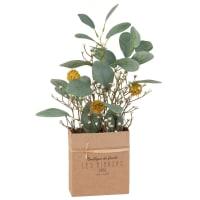 Bouquet de fleurs artificielles avec box en papier Kraft