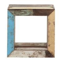 Bout de canapé cube en bois recyclé multicolore L 40 cm Calanque