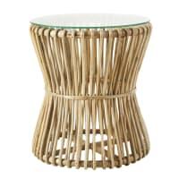 Bout de canapé en bambou et plateau en verre Jubba