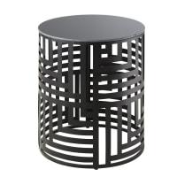 ATHES - Bout de canapé en métal ajouré noir