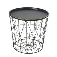 Bout de canapé en métal filaire noir Kalo
