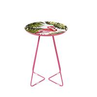 Bout de canapé en métal imprimé flamant rose Fanny