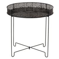 Bout de canapé en métal noir et verre Inaya