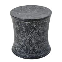 Bout de canapé en métal sculpté gris anthracite Macha