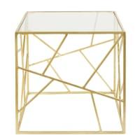 Bout de canapé en verre et métal doré Monterey
