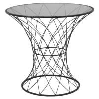 STAN - Bout de canapé filaire et verre teinté noirs