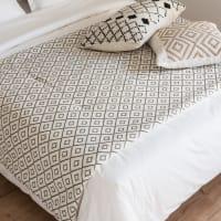 Boutis en coton écru motifs graphiques verts 100x200 Ifaty