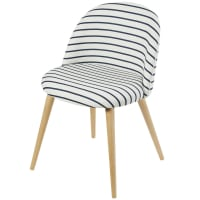 Breton Stripe Print and Solid Birch Vintage Chair Mauricette