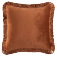 HARRIET - Brick red velvet cushion cover with fringing 40x40cm