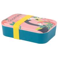 Brotzeitbox aus Bambus in Gelb und Rosa mit Flamingomuster Good Time
