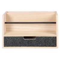 Brown and black office storage unit with 1 drawer