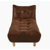 Brown Faux Suede Convertible Chaise Longue Cloud