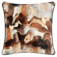 HOVDEN - Brown, gold, black and ecru cotton velvet cushion cover 40x40cm