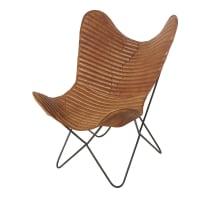 Bruine fauteuil van geitenleer Ottawa