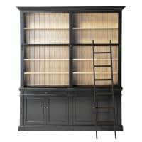 Bücherregal aus Kieferholz mit Leiter, schwarz Versailles