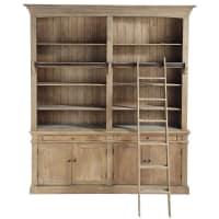 Bücherregal aus Recycling-Kiefernholz mit Leiter Aristote