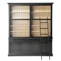 Bücherregal mit 2 Schubladen, 4 Türen und Leiter, schwarz Versailles