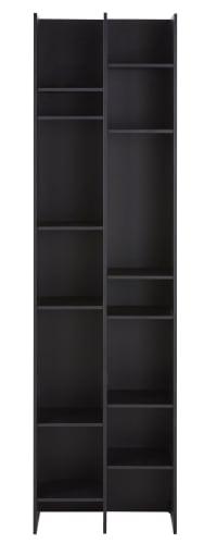 OSAKA - Bücherregal, schwarz, asymmetrisch