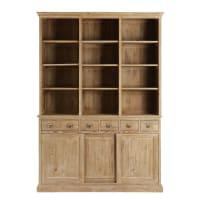 Bücherwand mit 3 Türen und 6 Schubladen, recyceltes Kiefernholz Botanica